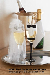 *New* Mud Pie Bride and Groom Champagne Glasses-Set of 2