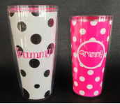 Grammy 16 oz. Pink and White Polka Dot Signature Tumblers