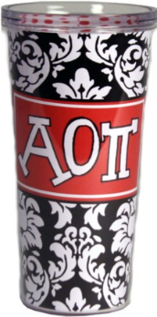 Alpha Omicron Pi Sorority Black and White Damask Cottie Cups