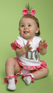Monogrammed Initial Baby Dress Onesies from Mud Pie