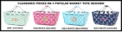 Personalized Pink/White and Navy/White Anchors Market Totes