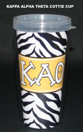 Kappa Alpha Theta Sorority Black and White Animal Print Cottie Cup