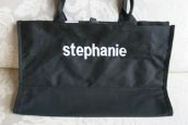 CLEARANCE-Personalized Buckhead Betties Black Tote with Black and White Polka Dot Lining