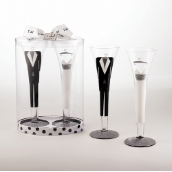 Bride and Groom Champagne Flute Set by Mud Pie