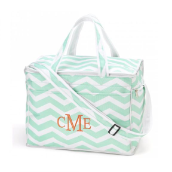 Personalized Mint Chevron Large Cooler Bags
