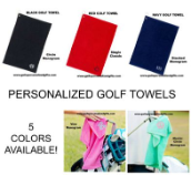 Personalized Golf Towels in 3 Different Color Choices