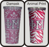 Phi Mu Sorority Pink Damask and Animal Print Cottie Cups