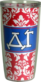 Delta Gamma Sorority Pink and White Damask Cottie Cups