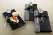 Black Marble Cheese Board with Medallion Single Initial by Mud Pie