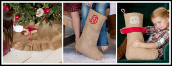 Personalized Burlap Christmas Stockings and Tree Skirts
