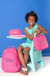 Personalized Solid PInk Backpack--Pencil Case-Gym Bag