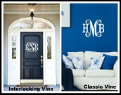 (4) Personalized Interlocking and Classic Vine Monogram Wood Signs