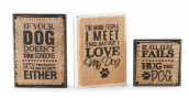 Mud Pie Wood and Burlap Dog Plaques