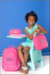 Personalized Solid PInk Backpack-Lunch Box-Pencil Case-Gym Bag