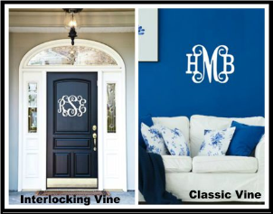 Personalized Vine and Classic Vine Monogram Wood Signs