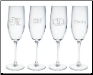 Personalized Glass Champagne Flutes - Individual or Sets of 4
