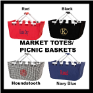 Personalized Market Totes-Picnic Baskets in Black-Red-Navy-Houndstooth