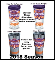 Clemson Tervis Tumblers and Wrap Tumblers and Mugs and Water Bottles and Sippy Cups