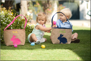 (2) Burlap Bunny Buckets - Blank or Personalized