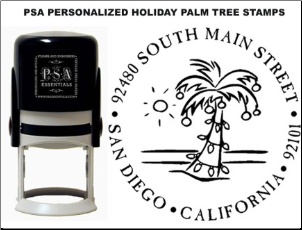 PSA Personalized Holiday Palm Tree Stamps