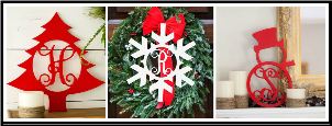 (5) Personalized Christmas Tree, Snowflake and Snowman Wood Signs
