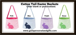 (4) Personalized Cotton Tail Easter Seersucker Buckets