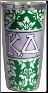 Kappa Delta Sorority Green and White Damask Cottie Cups